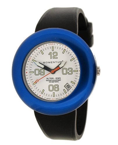 Momentum Women's 1M-SP99WU1B Alter Ego Blue Bezel White Dial Black Band Watch