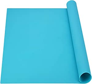 Extra Large Silicone Mat, Newpow Food Grade Silicone Pad - Odorless, 25 X 22 X 3/64 in, for Craft Jewelry Casting Resin Painting, Placemats Pet Mats Pastry Mats Countertop Protector - Turquoise