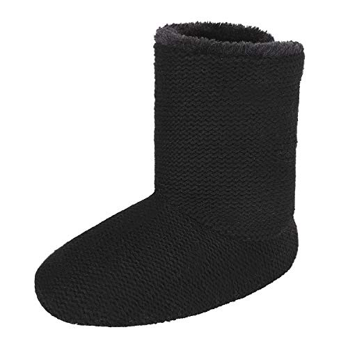Greenery-GRE Women's Indoor Slippers Winter Warm Cotton Cable Knit Fleece Lined Ankle High Snow Boots Non-Slip Floor Socks (38-39 M EU / 7-8 B(M) US, Black Knitted) (Black Slipper Boots For Women)