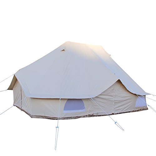 UNISTRENGH 6M Extra Large Waterproof Cotton Canvas Family Camping Bell Tent with 3 Doors for 8-12 Pepole Camping Hiking Hunting Party Exhibition (Beige