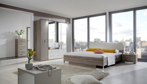 Schlafzimmer 4-tlg. in Montana Eiche-Nachb. (Eiche sägerau) mit Abs. weiß, 5-trg. Kleiderschrank mit Spiegeln, Futonbett 180x200 cm, 2 Nachtschränke