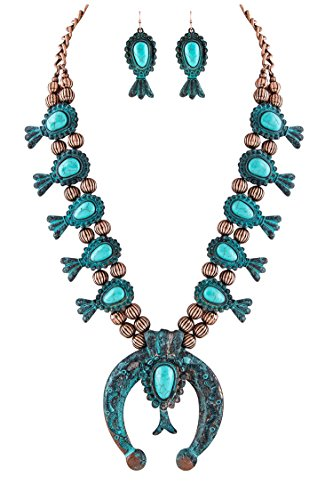 Jayde N' Grey Navajo Southwestern Squash Blossom Turquoise Necklace (Turquoise Antiqued Large Size) ()