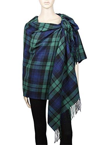 Achillea Long   Wide Scottish Tartan Plaid Large Cashmere Feel Blanket Scarf Check Shawl Wrap 80  X 29   Green