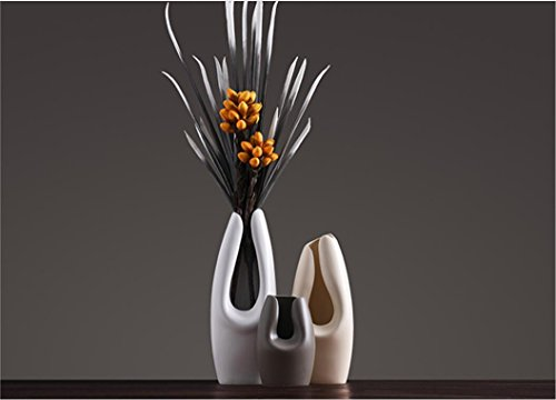1PC Simple modern ceramic vase ornaments restaurant vase Nordic style hotel desktop vase living room decor ZCL12111657 ( Size : Beige H34CM )