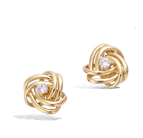 (Agvana Yellow Gold Filled Twisted Love Knot Stud Earrings Setting Cubic Zirconia CZ Fashion Jewelry Gifts for Women Girls, Diameter 0.4