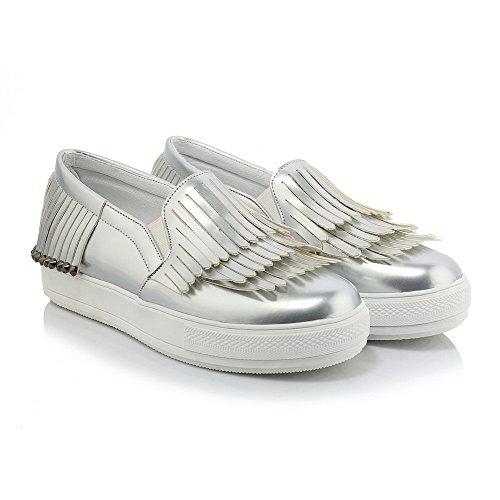AgooLar Damen Rund Zehe Niedriger Absatz Rein Ziehen auf Pumps Schuhe Silber