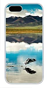 iPhone 5 5S Case Mountain And Lake 02 PC Custom iPhone 5 5S Case Cover White