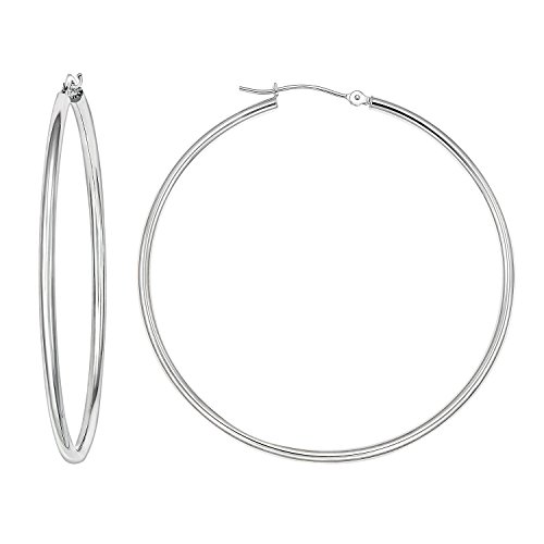 14k Gold Classic Hoop Earrings, 2'' Diameter (white-gold)