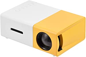 Sanpyl Mini Projector, Home Theater Portable LED Projector HD HDMI Multimedia Player Home Cinema Movie Projector(Yellow White(US Plug))
