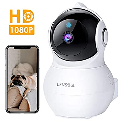 IP Camera Lensoul 1080P HD Security Camera WiFi Camera Home Dome Camera Baby Elder Pet Dog Monitor with Night Vision Two-Way Audio Motion Detection Free App by Lensoul