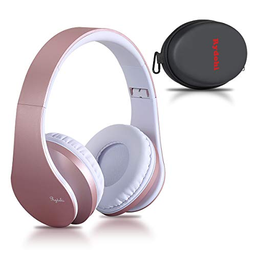 (Bluetooth Headphones Over Ear, Rydohi Wireless Stereo Headset with Deep Bass, Foldable and Lightweight, Wired and Wireless Modes Built in Mic for Cell Phone, TV, PC- Rose Gold)