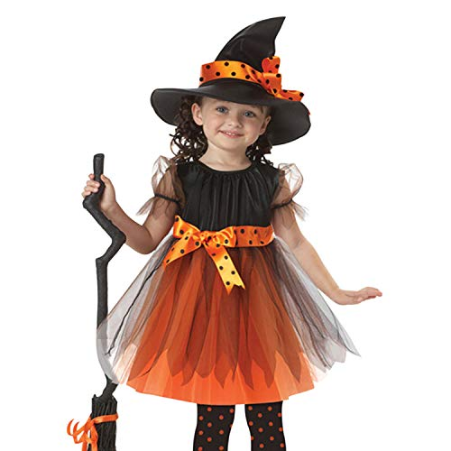 Evelin LEE Baby Girls 2pcs Clothes Outfits Halloween Costume Party Dress and Witch Hat ()