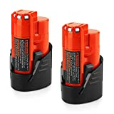Energup Upgraded 2 Pack 12V 2500mAh Replacement M12 48-11-2410 Lithium-ion Battery for Milwaukee 48-11-2420 48-11-2411 48-11-2401 48-11-2402 48-11-2401 Cordless Tools