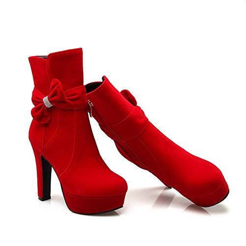 AllhqFashion Mujeres Caña Baja Tacón ancho Puntera Redonda Sólido Botas con Pajarita Rojo