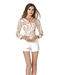 Bestgift Women's Silk Solid Color Slim Bowknot Neck Shirts