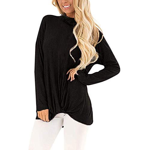 Keliay Bargain Women Casual Long Sleeve Solid Color T Shirts Twist Knot Tunics Tops Blouses ()