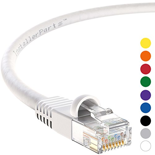 InstallerParts CAT6 Ethernet Cable 15 FT White - UTP Booted Internet Cord - Professional Series - 10 Gigabit/Sec Network/High Speed Internet Cable - Internet Cord, 550MHZ -