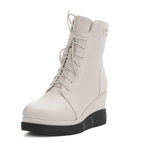 AmoonyFashion Women's Round Closed Toe Low-top High-Heels Solid PU Boots, Beige, - Stores Mall Outlet In Pearl