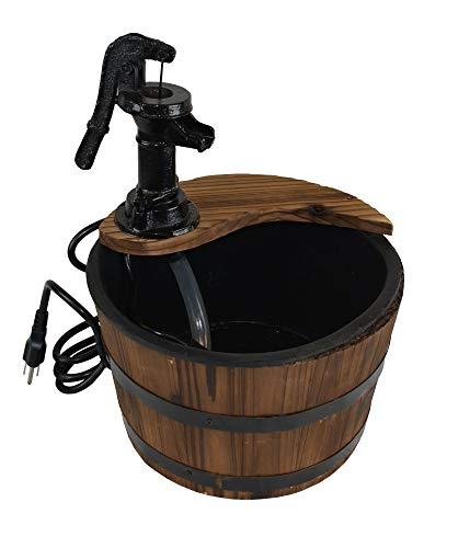 Water Fountains Outdoor Wood Barrel with Pump - Small Garden Water Fountain Product SKU: - Water Wood Fountain