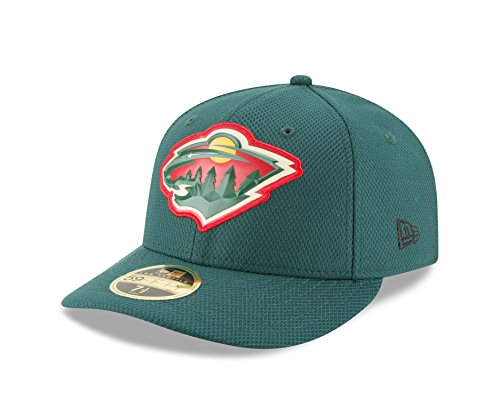 New Era NHL Minnesota Wild Adult Bevel Team Low Profile 59FIFTY Fitted Cap, 7.125, (Green 59fifty Fitted Cap)