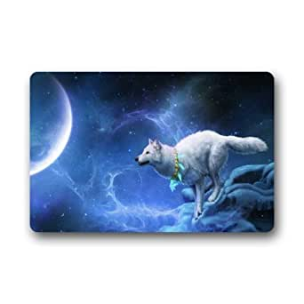 """23.6""""(L) X 15,7(W) Felpudo (artística funda de Señor Kill diseños elegante, decorativo, único, Cool, Fun, Funky para baño–Wolf en el espacio Galaxy nebulosa arte Digital"""