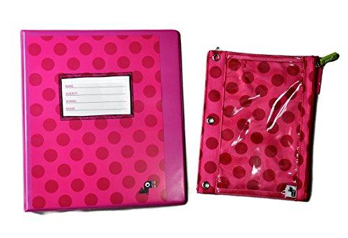 1 Inch D-Ring Binder & Binder Zip Case - Pink Polka Dot Pattern - Set of 2 Items