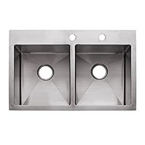 """Franke HF3322-2 Vector 33"""" Dual Mount Double Bowl 2-Hole Kitchen Sink, Stainless Steel"""
