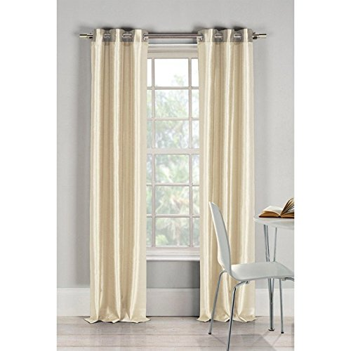 Curtain panels set of 2 window curtains (38x84) (ivory) faux silk panel set By United Linens (Window Treatment Ideas)