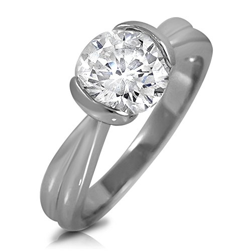 - Round White Cubic Zirconia Solitaire Engagement Tension Set Ring 7mm 1.28ctw