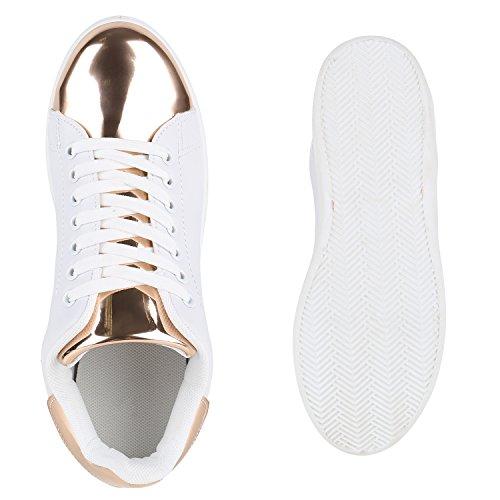 Stiefelparadies Damen Sneakers Sneaker Low Metallic Cap Sportschuhe Leder-Optik Glitzer Freizeit Schnürer Prints Samt Trainers Allyear Flandell Weiss Rose Gold