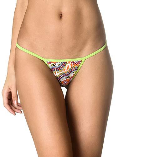 (THE MESH KING Coqueta Brazilian Teeny Itsy Bitsy Micro Thong Mini Bikini Swimsuit G String Passion Fruit-SM)