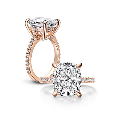 Erllo 6 Carat Clear Cushion Cut CZ Cubic Zirconia Solitaire Wedding Engagement Ring 925 Sterling Silver (Rose-Gold-Plated-Silver, 10) 925 Sterling Silver Solitaire