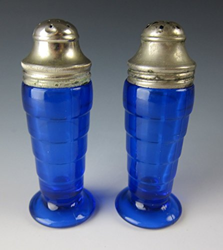 Hazel-Atlas Glass MODERNTONE-COBALT BLUE Salt & Pepper Set (Hazel Atlas Depression Glass)