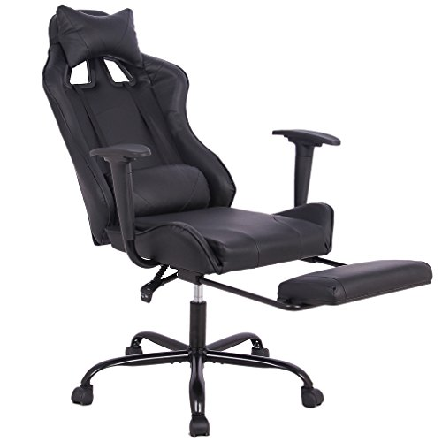 Recliner Office Chair, BestMassage High Back Gaming Chair With Footrest Lumbar Support Ergonomic Swivel Chair by BestMassage
