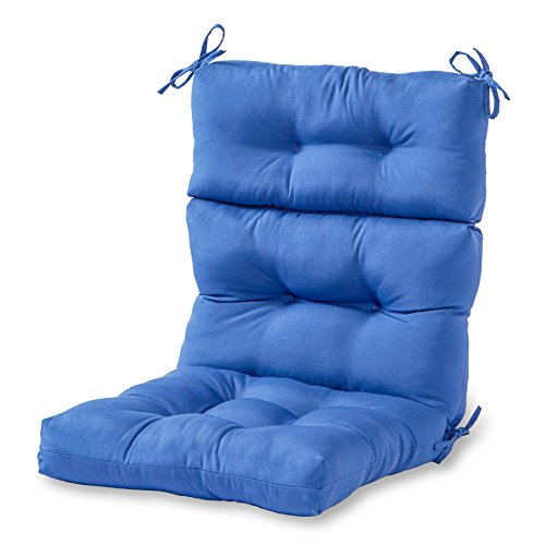 Greendale Home Fashions Indoor/Outdoor High Back Chair Cushion, Marine Blue (Patio Replacement For Cushions Seat Furniture)