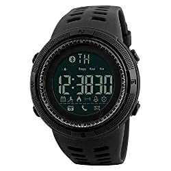 Walwee Electronic Fitness Tracker Digital Sports Bluetooth Smart Watch Waterproof Pedometer Remote Camera Incoming Call or Message Alert Reminder for iOS & Android Smartwatch Men & Women (Black)