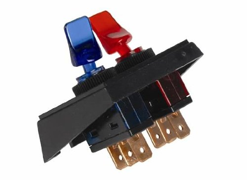 JT&T Products (2986F) - 20 AMP @ 12 Volt - S.P.S.T., Illuminated On/Off Red & Blue Duckbill Switches in Panel Mount Combination