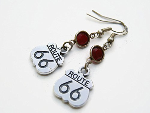 Route 66 Sign Birthstone Earrings, Personalized Trucker Earrings, Road Trip Earrings, Vacation Jewelry