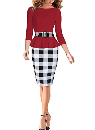 Viwenni Women's Houndstooth Belted Colorblock Tartan Wear to