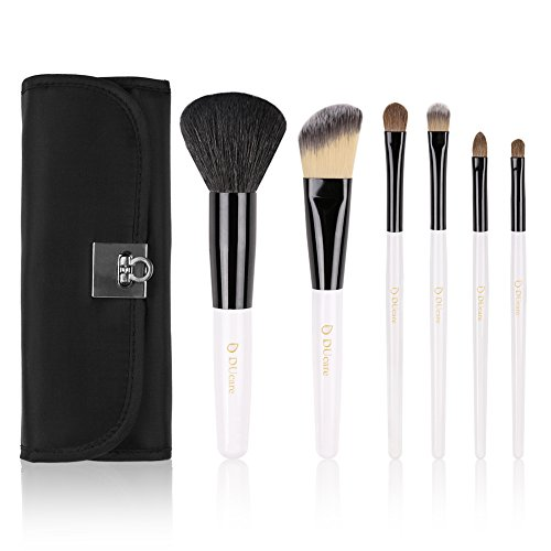 DUcare 6 Piece Makeup Brush Set with Black Classic Cosmetic Bag