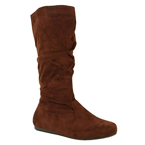Guilty Shoes Womens Mid Calf Comfortable Slouchy Solid Color Flat Heel Boots Boots, Brown Suede, 10 (B) M (Ladies Brown Suede Boots)