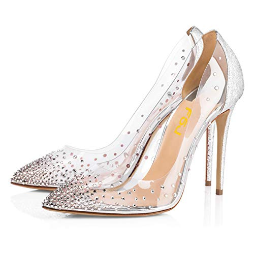 (FSJ Women Studded Pointed Toe Transparent Pumps High Heels Shoes with Rhinestones Size 9 Silver )