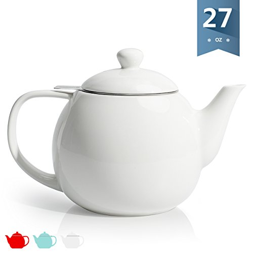 Sweese 2307 Teapot, Porcelain Tea Pot with Stainless Steel Infuser, Blooming & Loose Leaf Teapot - 27 ounce, White - White Porcelain Pot