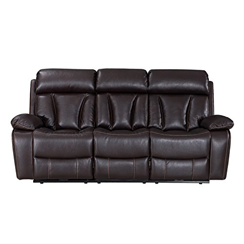 Power Recliner Sofa With USB Charging Port/LED Reading Light,/Cup Holder, Tufted leather Home Theater Sofa, 3 Seat,Brown by Frivity
