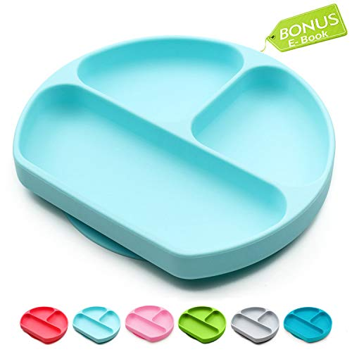 Suction Plates for Toddlers, Children, Babies, Silicone Placemats for Kids Stick to Portable High Chair and Table, Baby Dishes - Kids Plates + Bowls (Light Blue) (Spoon Childrens Silicone)