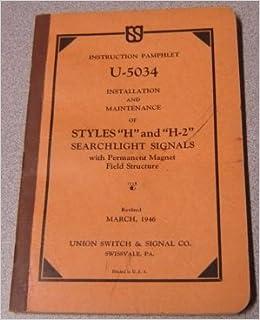 Instruction Pamphlet U-5034 Installation & Maintenance of Styles