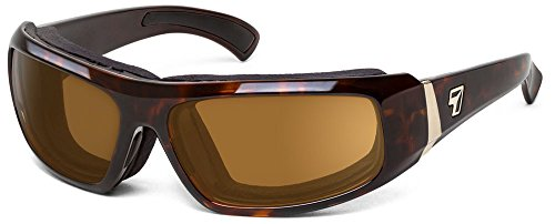 7eye Bali SharpView Sunglasses, Tortoise Dark Frame, Polarized Copper Lens, Small/Large