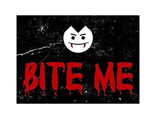 Lancy's Artworks Bite Me Blood Red Large Print Vampire Face Picture Fun Scary Humor Halloween Seasonal Decoration Sticker Sign for Business Wall Window Any Smooth Surface u]()