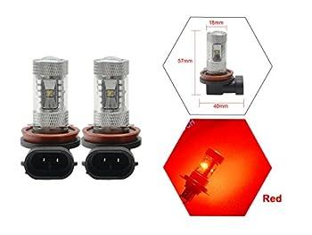NJYTouch 2Pcs High Power H8/H11/H16 Red 30W 6LEDs Fog Daytime Light Lamp DC 9-24V 1360lm/Pair