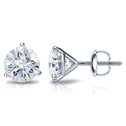 18k White Gold Round Moissanite Stud Earrings (2 1/2ct TGW, 7mm, J-K)3-Prong Martini Set, Screw-Back by Diamond Wish